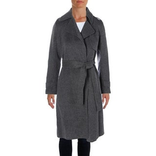 Theory Womens Oaklane Trench Coat Wool Notched Lapel