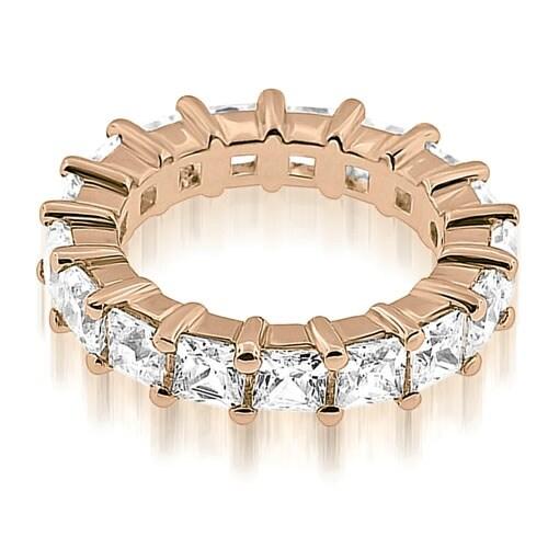 4.15 cttw. 14K Rose Gold Princess Cut Diamond Eternity Band Ring
