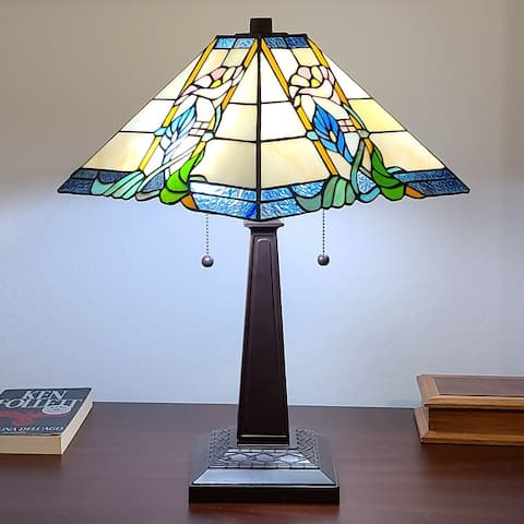"""Tiffany Style Table Lamp Mission 23"""" Tall Stained GlassFloral Flower Decor Nightstand Bedroom Handmade AM058TL14B Amora Lighting"""