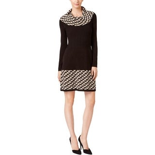 Jessica Howard Womens Petites Sweaterdress Cowl-Neck Patterned