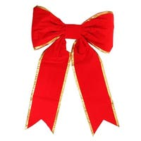 "36"" x 50"" Commercial Structural 2-Loop Red and Gold Outdoor Christmas Bow"