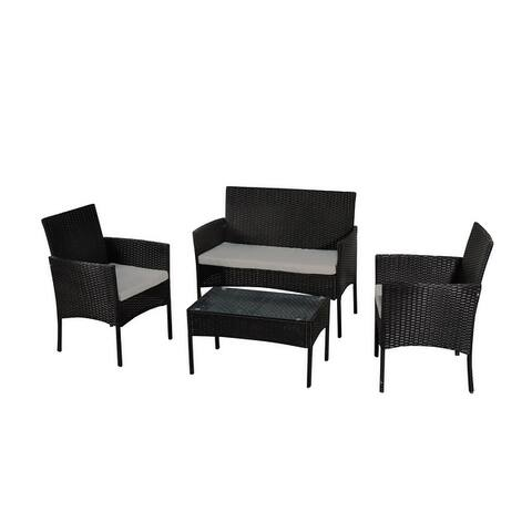 4-Piece Wicker Patio Conversation Set with Grey Cushion and Side Table