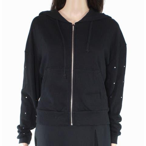 Wildfox Womens Sweater Black Silver Size XXS Hooded Gemstone Studded