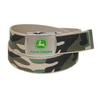 John Deere Boys' Canvas Camo Belt with Military Buckle - Camouflage