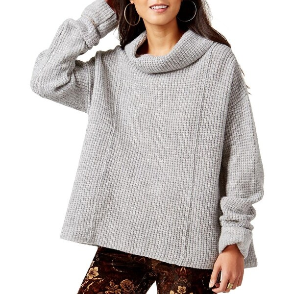 Free People Womens Sidewinder Pullover Sweater Wool Waffle Knit