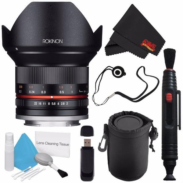 Rokinon 12mm f/2.0 NCS CS Lens for Sony E Mount (Black) RK12M-E + Deluxe Lens Pouch + Lens Cap Keeper + Lens Pen Cleaner Bundle