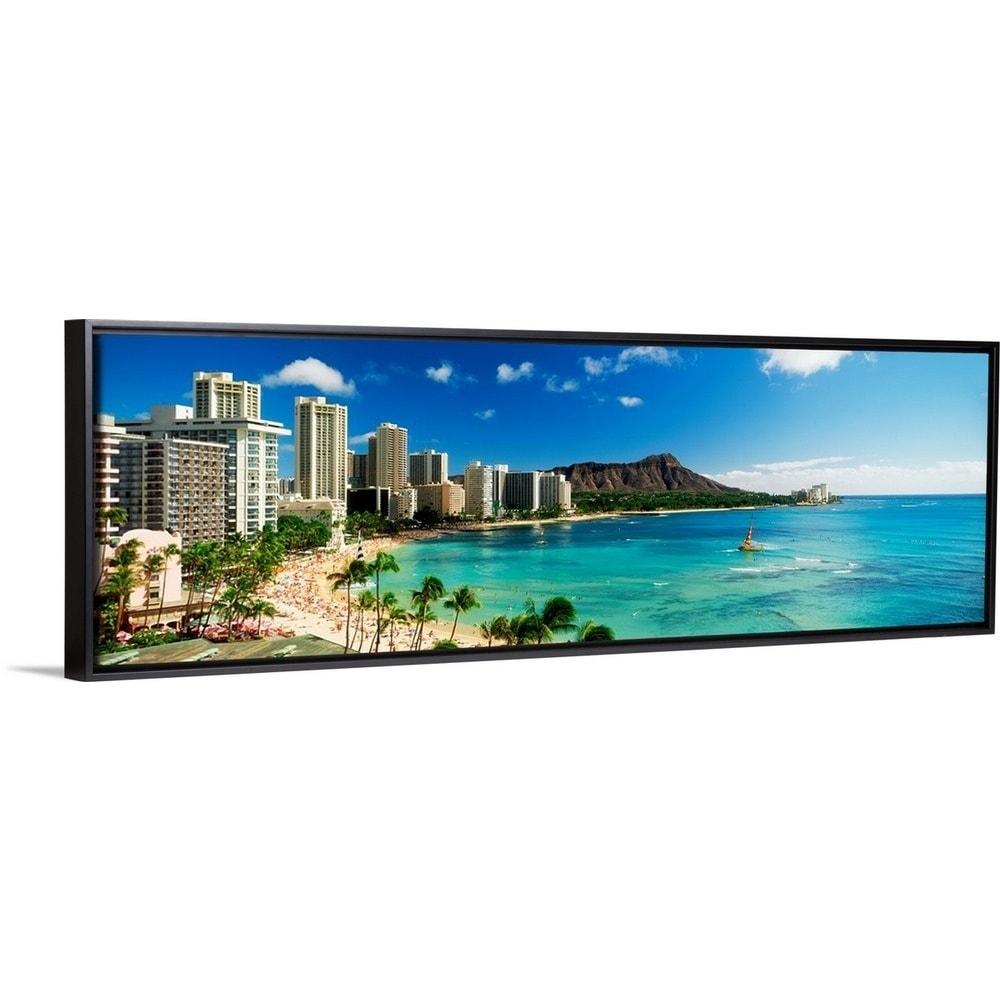 Hotels On The Beach Waikiki Beach Oahu Honolulu Hawaii Black Float Frame Canvas Art