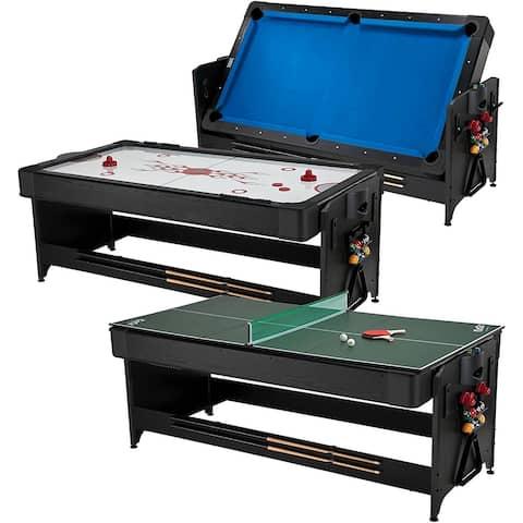 Fat Cat Original Pockey 3-in-1 Game Table 7' feet Blue Billiard, Air Hockey, Table Tennis / 64-1052