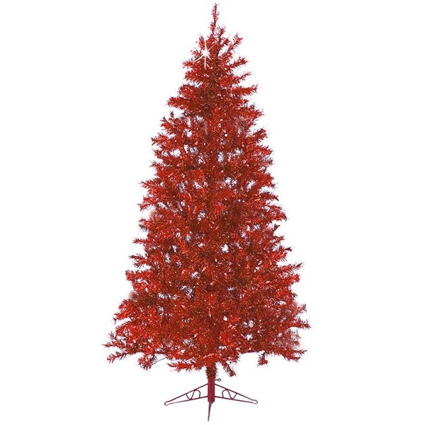 7.5' Sparkle Merlot Pre-Lit Laser Tinsel Artificial Christmas Tree Merlot Lights - RED