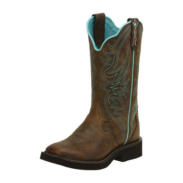 "Justin Western Boots Womens 12"" Shaft Rubber Outsole Stitched L2922"