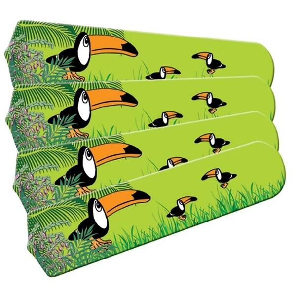 Green Toucan Designer 42in Ceiling Fan Blades Set - Multi