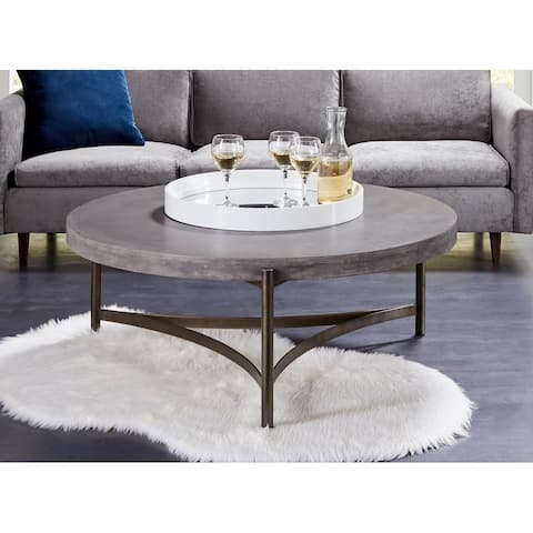 Lyon Round Concrete and Metal Coffee Table