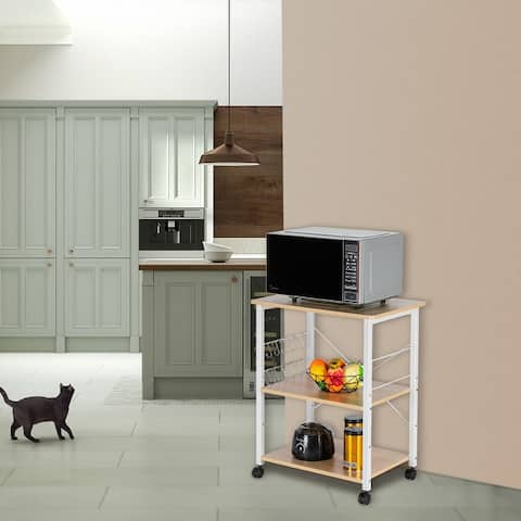 3-Tier Kitchen Utility Microwave Oven Stand Storage Cart Baker's Rack