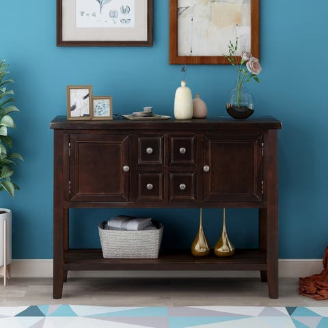 Espresso Buffet Sideboard Console Table with Bottom Shelf
