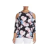 Vince Camuto Womens Plus Blouse Floral Print Cold Shoulder