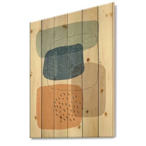 Designart 'Minimal Elementary Organic And Geometric Compostions XXXXXXXIX' Modern Print on Natural Pine Wood