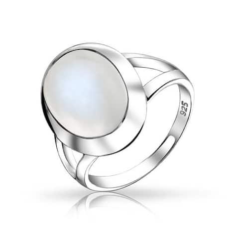 Mood Moonstone Gemstone Oval Cabochon Bezel Set Split Shank Ring For Women Teens Polished Finish 925 Sterling Silver