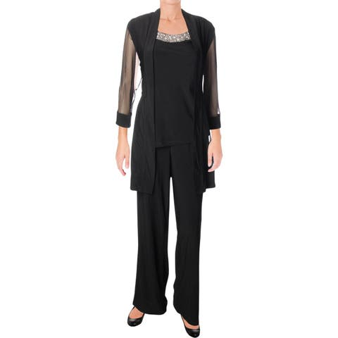 R&M Richards Womens Pant Outfit Embellished 2PC