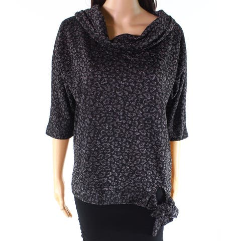 August Silk Black Womens Size Large L Cowl-Neck Side-Tie Blouse