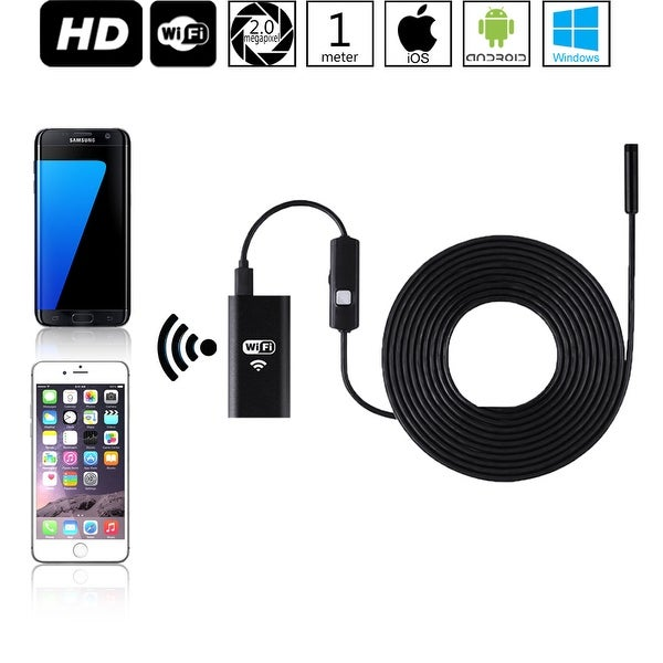 Wireless Endoscope, WiFi Borescope Inspection Snake Camera for Android and iOS Smartphone, Tablets - 2 Megapixels - 1M