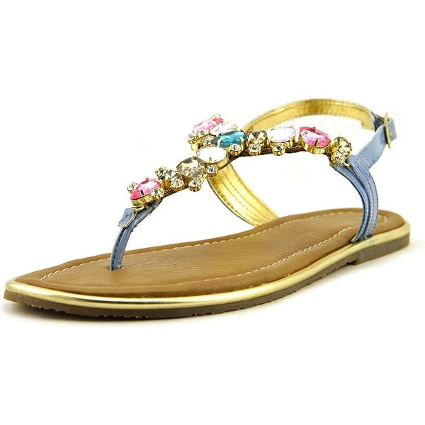 Carlos by Carlos Santana Marquee Women Open Toe Leather Blue Thong Sandal