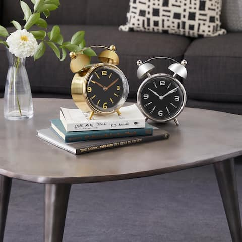 Multi Stainless Steel Contemporary Clock No Theme (Set of 2) - 6 x 5 x 7Round