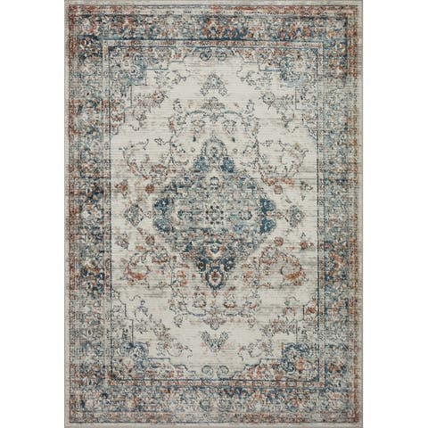 Alexander Home Charlotte Transitional Distressed Medallian Area Rug