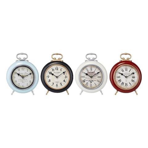 "Set of 4 Black and Brown Vintage Look Tabletop Desk Clocks 11"""