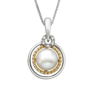 7 mm Freshwater Pearl Pendant with Diamonds in Sterling Silver and 14K Gold