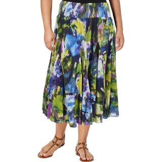 Context Womens Plus Flare Skirt Crinkled Printed
