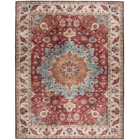 ReaLife Machine Washable - Vintage Distressed Medallion Rug