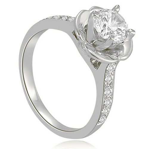 0.85 cttw. 14K White Gold Round Cut Diamond Engagement Ring