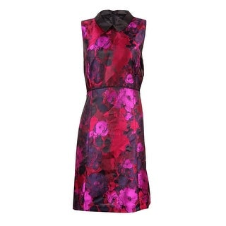 Ivanka Trump Women's Collared Floral-Print A-Line Dress
