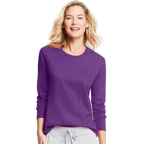 Hanes Women's Long-Sleeve Crewneck T-Shirt - Size - M - Color - Violet Splendor