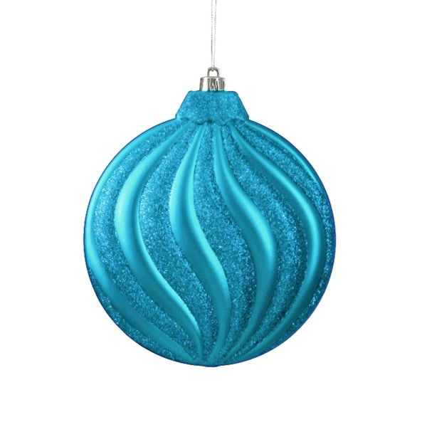 6ct Matte Turquoise Blue Swirl Shatterproof Christmas Disc Ornaments 6.25""