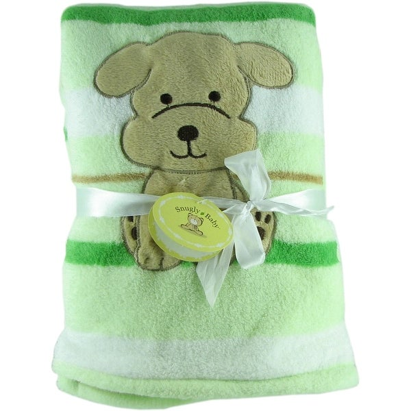 Snugly Baby Green Fleece Baby Blanket w/ Embroidered Puppy