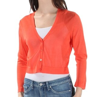 Lauren Ralph Lauren V-Neck Cardigan Sweater Orange Poppy