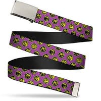 Blank Chrome  Buckle Power Ranger Animal Logos Scattered Purple Yellow Web Belt - S