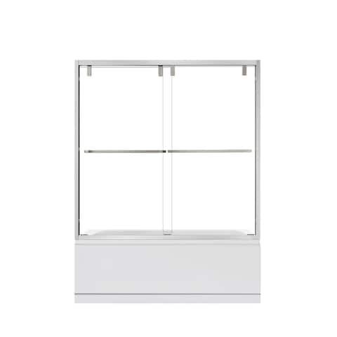 "Brescia 60"" W x 58"" H Double Sliding Framed Tub Door in Brushed Nickel - 60"" W x 58"" H"