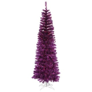 4.5' Pre-Lit Purple Tinsel Pencil Artificial Christmas Tree - Purple Lights