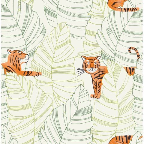 Seabrook Designs Daydreamers Hiding Tigers Unpasted Wallpaper