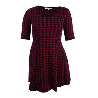Sandra Darren Women's Houndstooth Fit & Flare Sweater Dress (L, Black/Red) - Black/Red - l