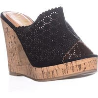 callisto Lovie Embellished Platform Wedge Sandals, Black - 11 us