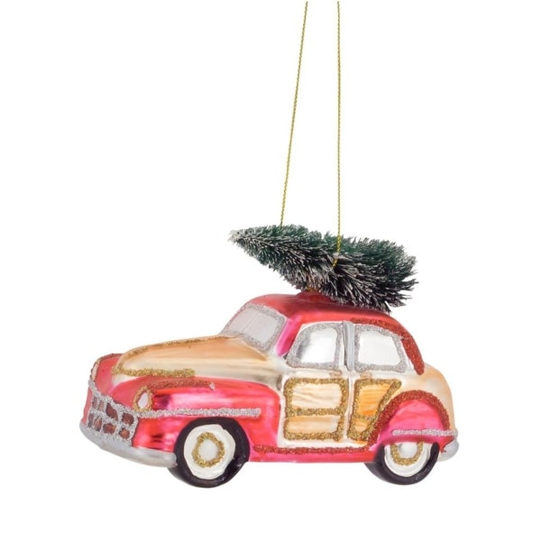 Set of 6 Festive Glittered Car with Christmas Tree on Top Glass Christmas Ornament