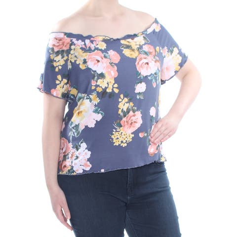 PLANET GOLD Womens Blue Ruffled Floral Short Sleeve Top Plus Size: 3X
