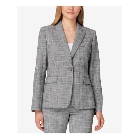 TAHARI Womens Black Plaid One Button Blazer Jacket Size 12
