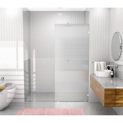 """Glass Warehouse 34"""" x 78"""" Frameless Shower Door - Single Fixed Panel Fluted Frosted"""