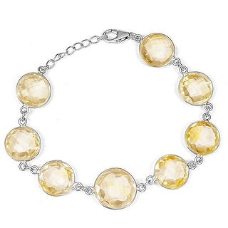 Citrine Sterling Silver Round Link Bracelet by Orchid Jewelry