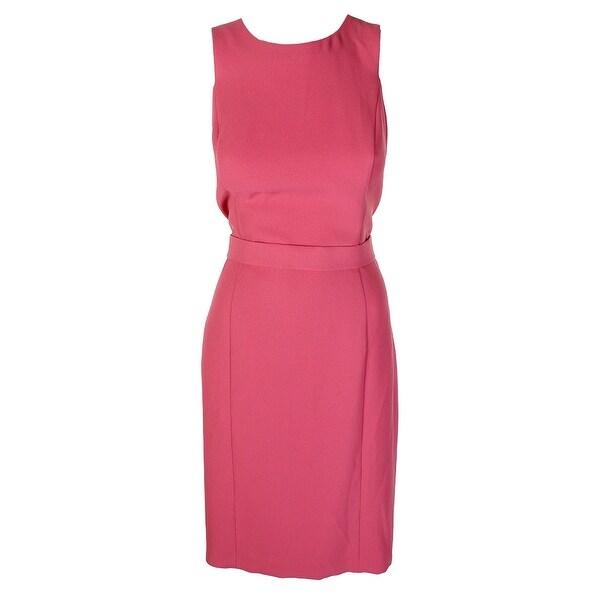 35b6b3ffbdd Shop Boss Hugo Boss Pink Sleeveless Dalanea Belted Sheath Dress 10 ...