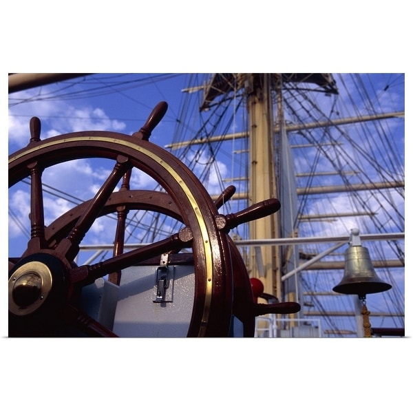 """""""Helm and bare masts of clipper ship"""" Poster Print"""